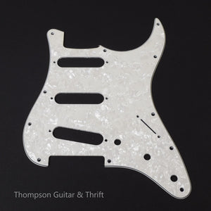 White Pearloid Strat Style Pickguard 11-Screw SSS 3-Knob 3-Ply