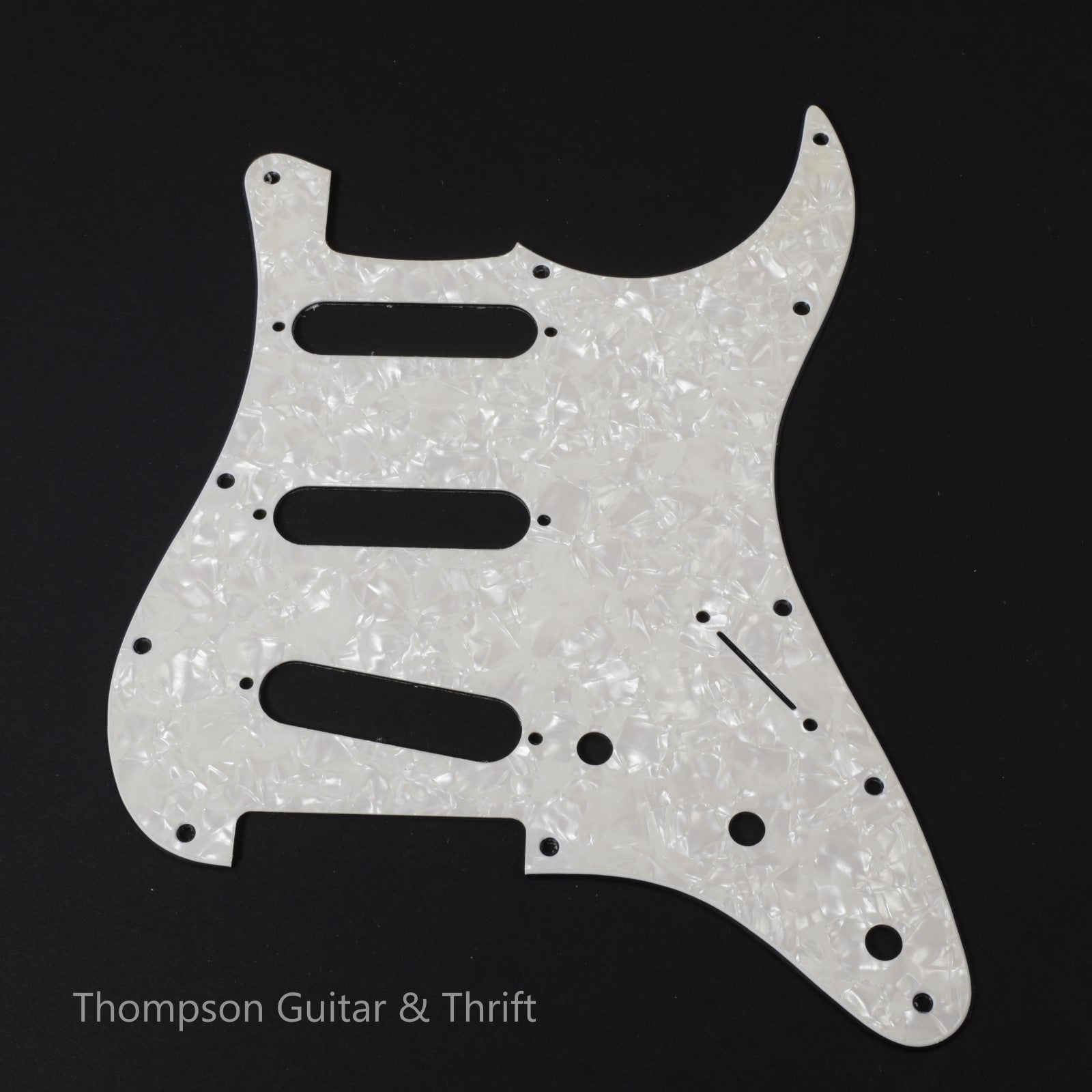 White Pearloid Strat Style Pickguard 11-Screw 3-Knob 2-Ply (Blemished) (NOS)