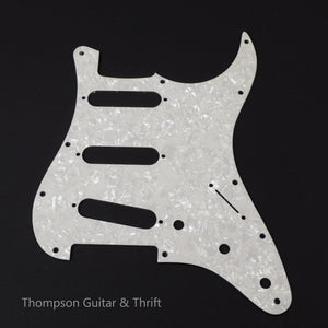 White Pearloid Strat Style Pickguard 11-Screw 3-Knob 2-Ply