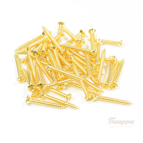 Gold Steel Bridge and Strap Pin Screws 3mm x 25mm