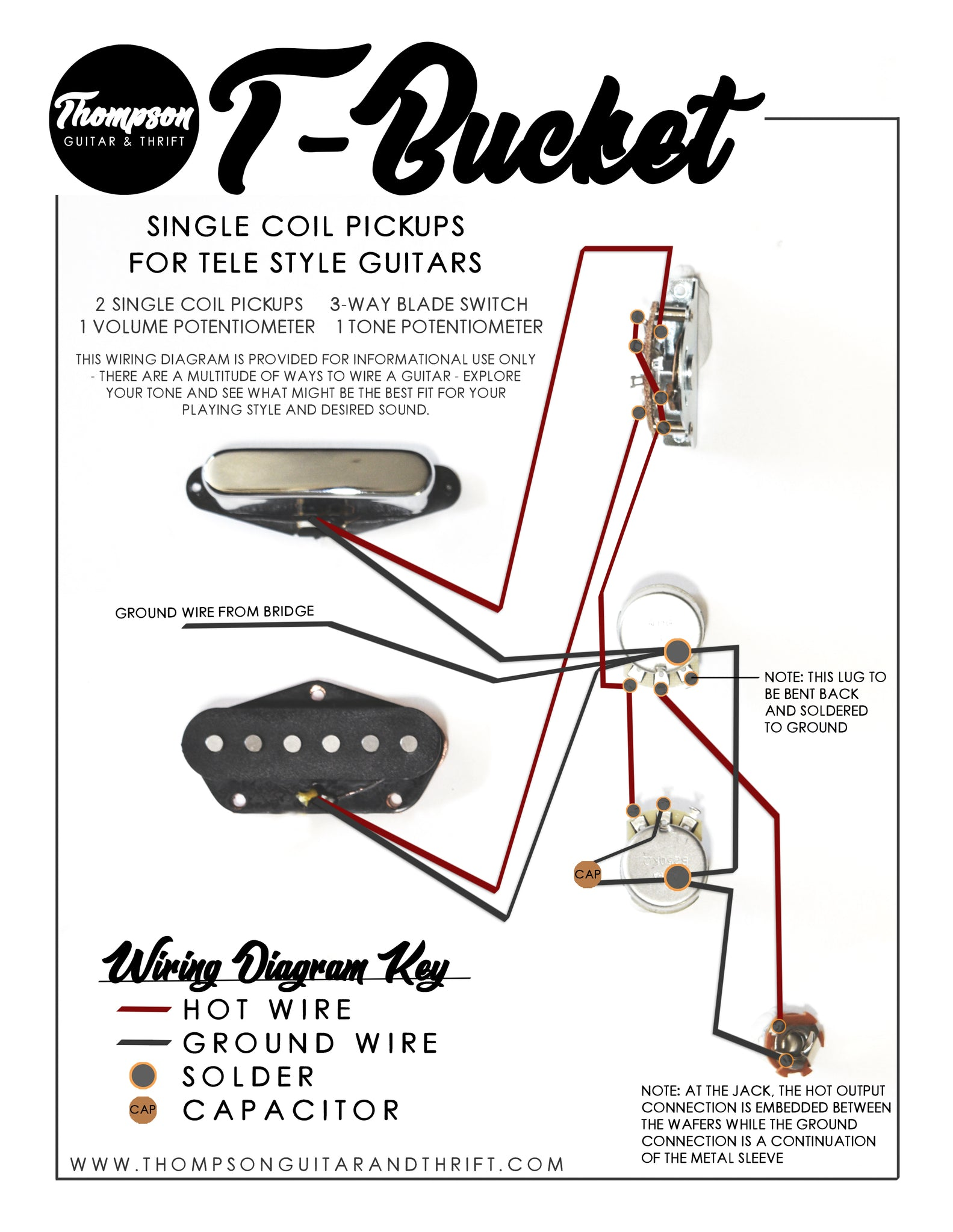 T-Bucket Single Coil Pickups Wiring Diagram