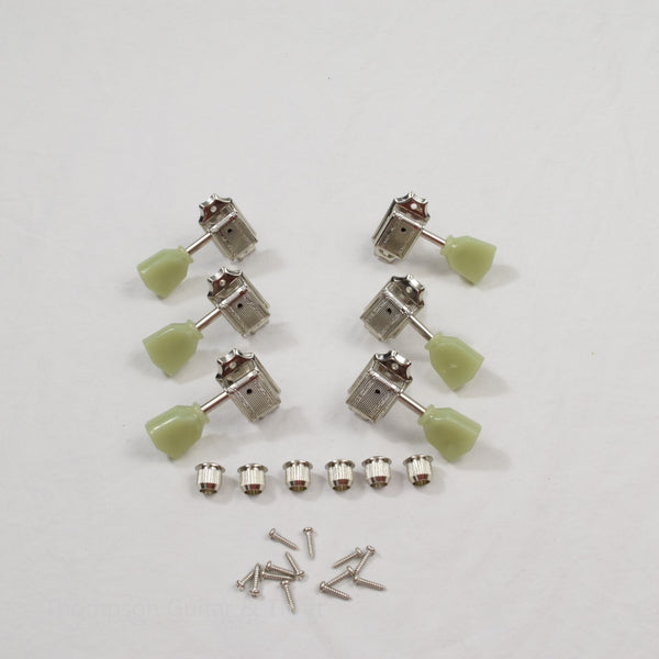 Nickel 3x3 Wilkinson Vintage Green Tulip Standard Tuners Set of 6