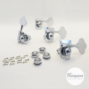 4 in Line Standard Classic Steel Bass Tuners Chrome Set of 4