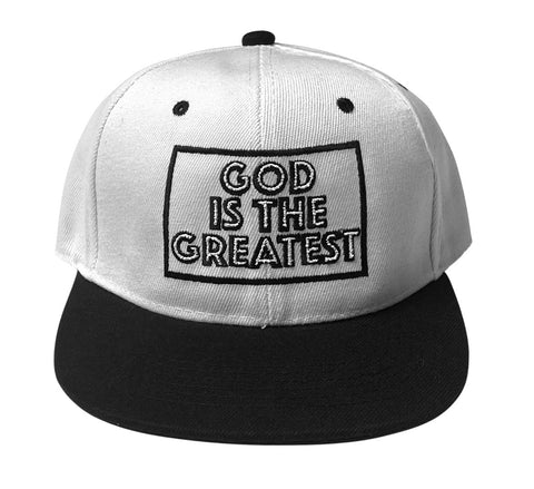 God Is The Greatest Snapback -White & Black
