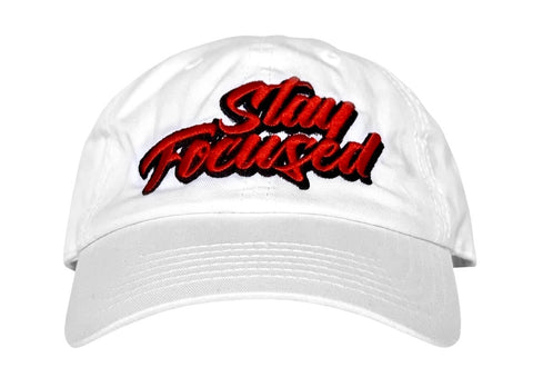 Stay Focused Dad Hat (White)