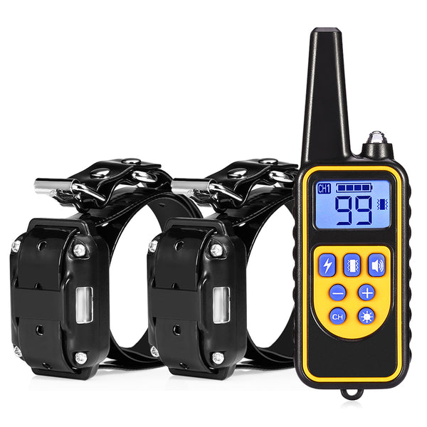 Waterproof Rechargeable Electric Dog Training Collar LCD Display 800M With Remote Control and 2 Receivers