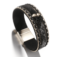 Load image into Gallery viewer, Black Leopard Leather Bracelet Amkaysha