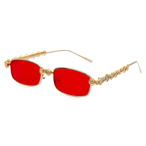 Joann Red Rectangle Sunglasses Amkaysha