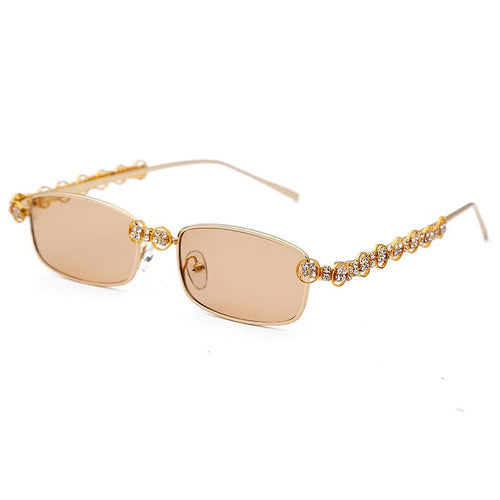 Joann Rectangle Rhinestone Sunglasses Amkaysha