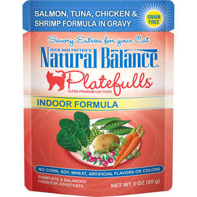 Natural Balance Platefulls Indoor Grain Free Salmon Tuna Chicken and Shrimp in Gravy Pouch Wet Cat Food