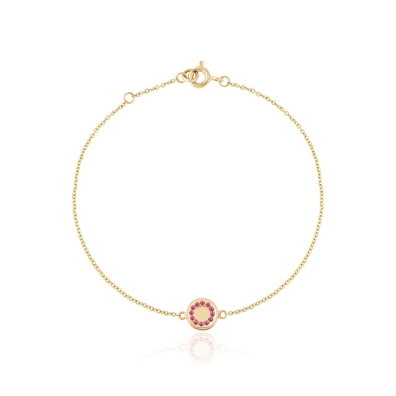 Gold ruby gemstone circle bracelet