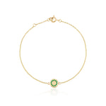 Gold emerald gemstone circle bracelet