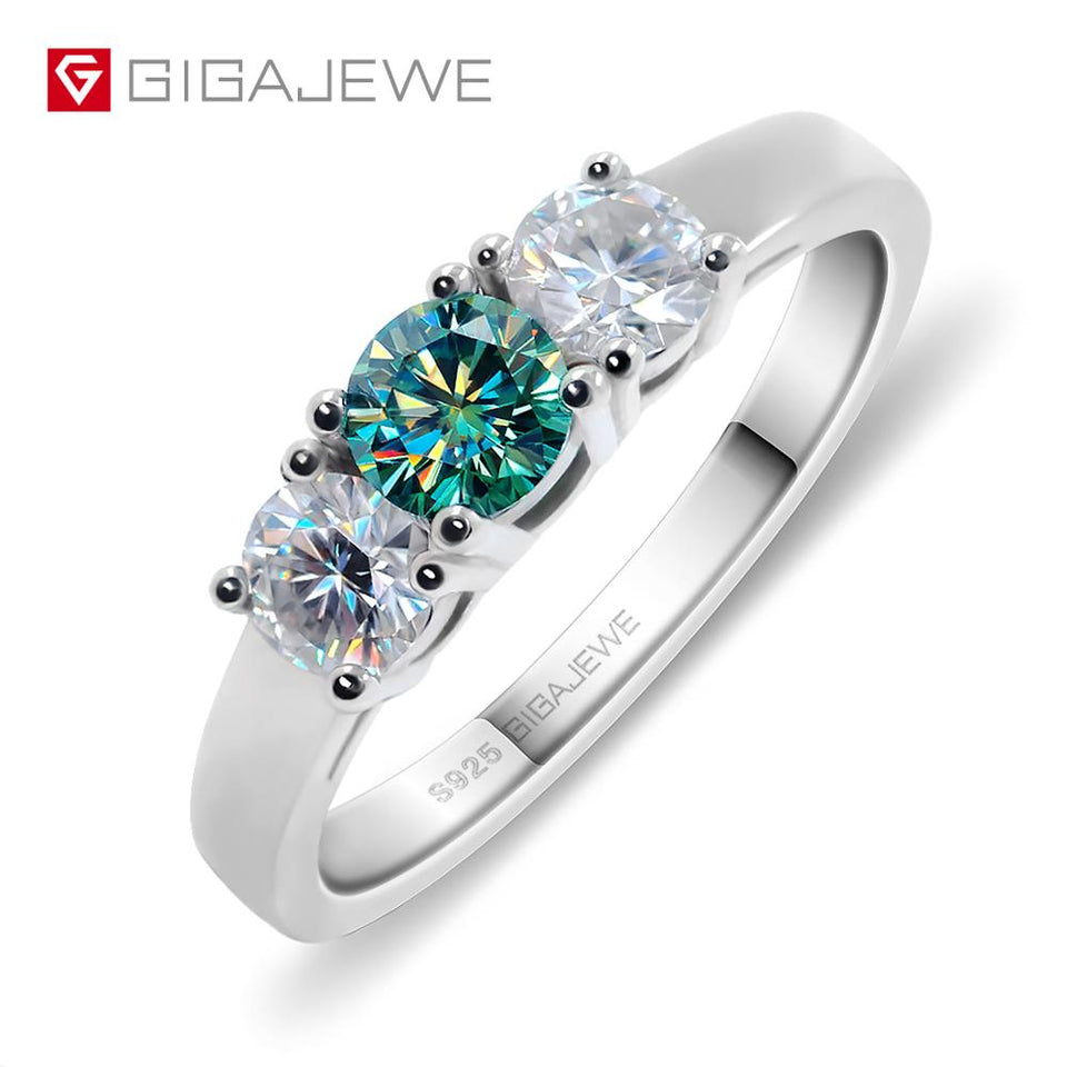 Total 1.0ct EF/Green VVS1 Round Excellent Cut Diamond Test Passed Moissanite 925 Silver Ring Jewelry Girlfriend Gift