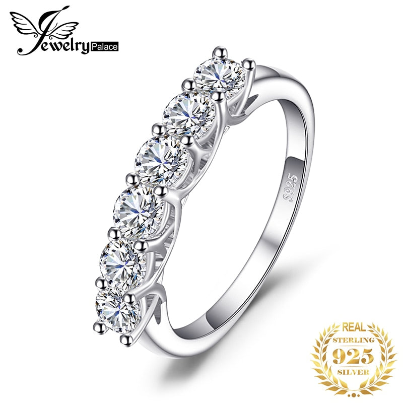 CZ Wedding Rings 925 Sterling Silver Rings for Women Stackable Anniversary Ring Eternity Band Silver 925 Jewelry