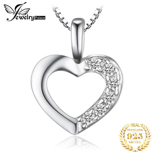 Heart Sterling Silver Pendant Necklace 925 Sterling Silver Chain Choker Statement Collar Necklace Women