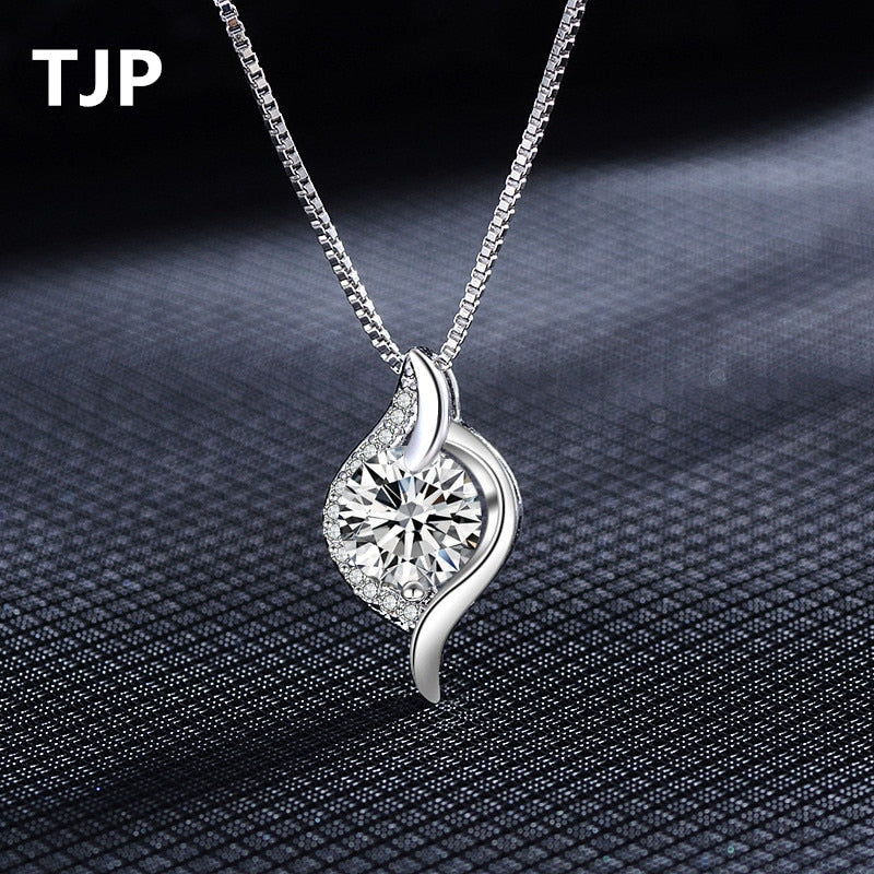 Trendy 925 Sterling Silver Water Drop Pendant Necklace New Fashion Austrian Rhinestones Crystal Women Girl Wedding Jewelry
