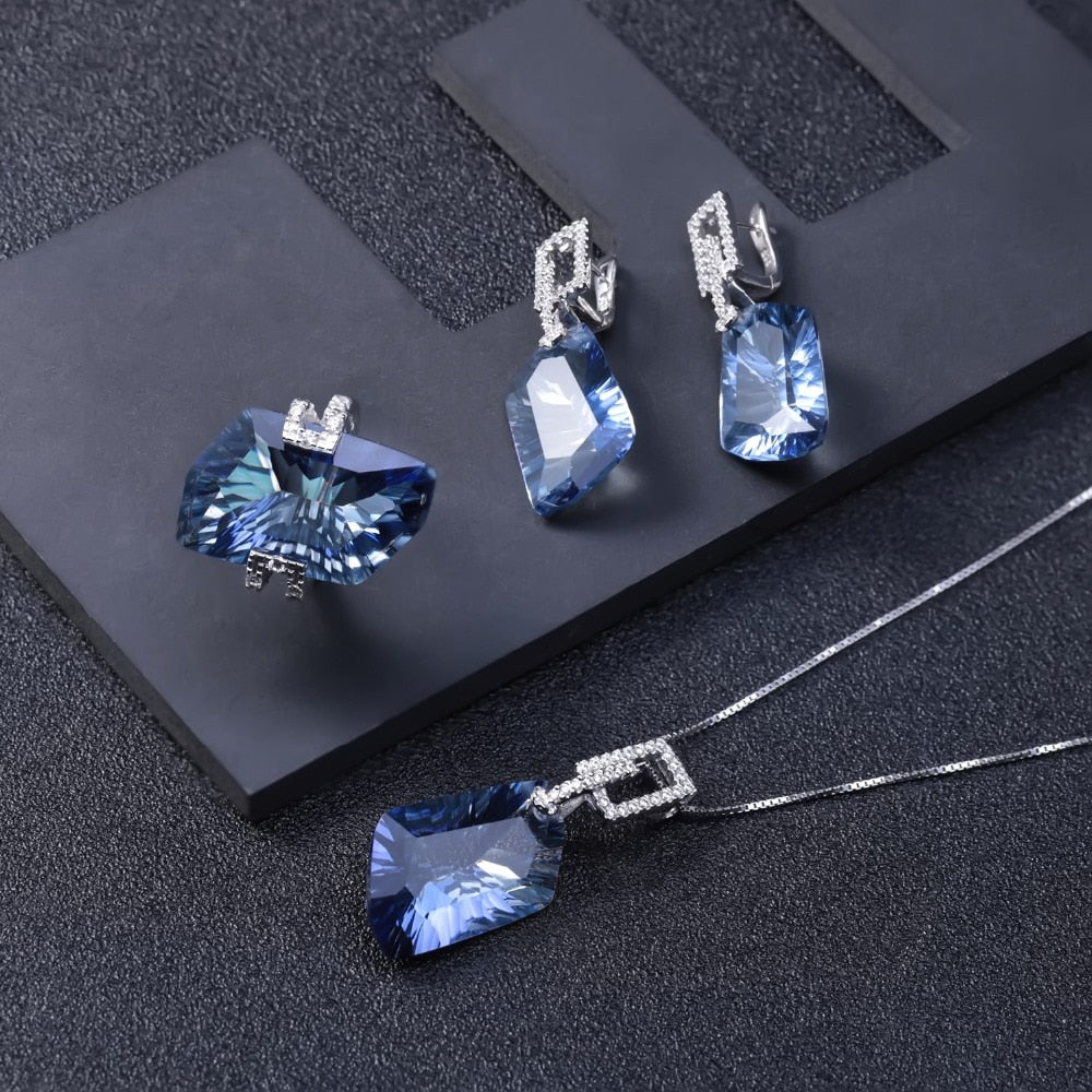 Irregular Natural Iolite Blue Mystic Quartz Geometric Jewelry Sets 925 Sterling Silver Necklace Earrings Ring Set