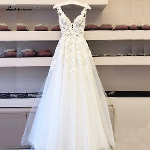 Vintage Lace Boho Wedding Dress Vestidos de Boda Deep V Neck Sexy Bridal Dresses Sleeveless Open Back Floor