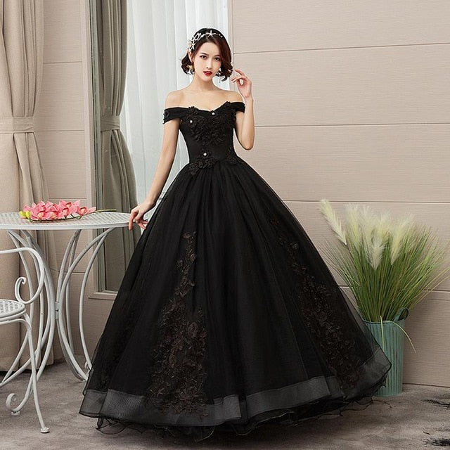 Dresses Party Prom Lace Embroidery Off The Shoulder Ball Gown 5 Colors Dress Plus Size