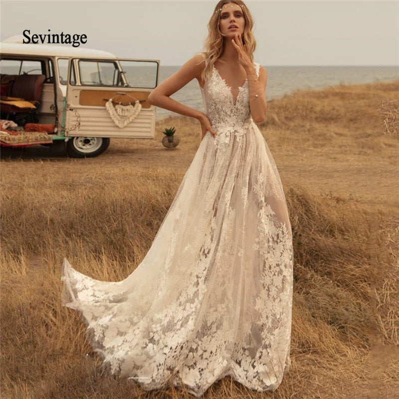 Newest Deep V Neck Boho Wedding Dresses Country Lace Appliqued Backless Bridal Gown Sweep
