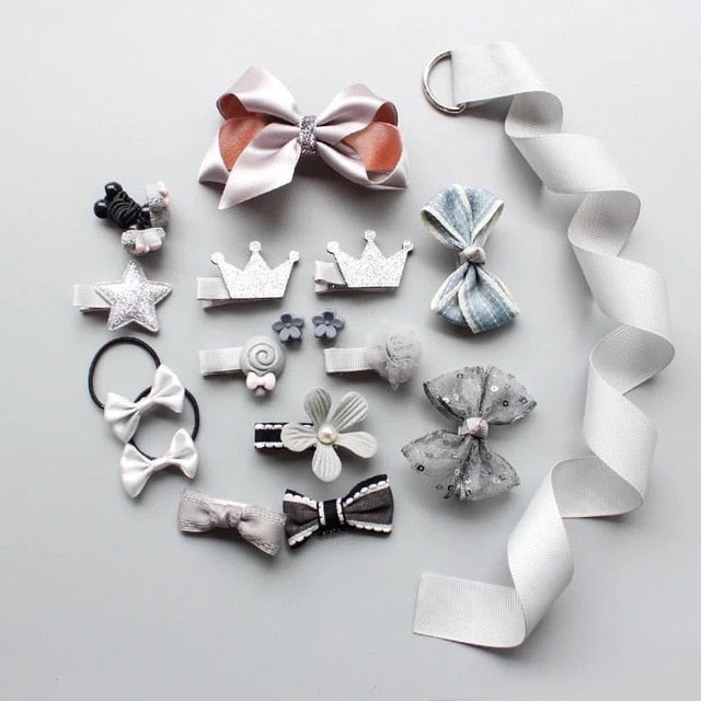 10/18/24pcs Ribbon baby girl crown Bows Hairpins Barrettes baby hair Accessories kids Child Baby Girls Hair Clips no box