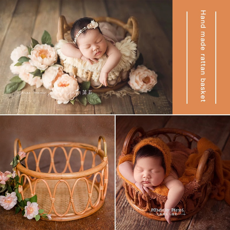 Newborn Photography Basket Vintage Baby Shooting Props Children Rattan Basket Children Baby Photography Woven Accessories