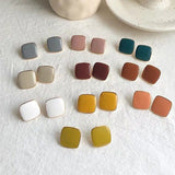Cute Vintage Colorful Enamel Square Glaze Stud Earrings For Women Fashion Boucle d'oreille Brincos Jewelry