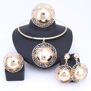 Wedding Bridal Jewelry Sets For Women Necklace Bracelet Earrings Rings Gold Color Dubai African Beads Statement Accessories