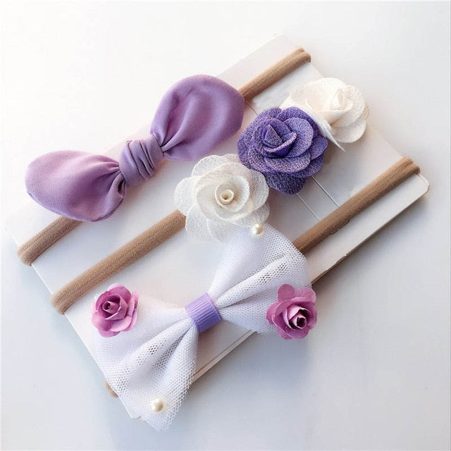 3Pcs/Set Newborn Baby Headband Flower Bows Lace Pearls Haarband Baby Girl Headbands Elastic Hair Band  Baby Hair Accessories