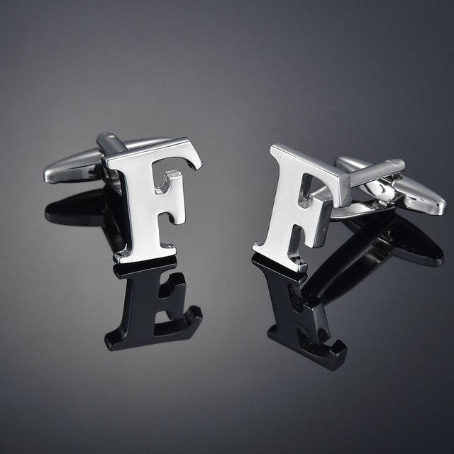 Quality Brass Silver Color 26 Letter A-Z Letters Cufflinks men French Shirt Cufflinks for mens gemelos bouton manchette