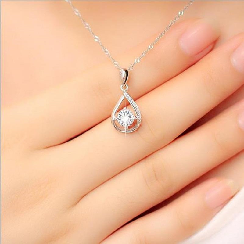 Shiny Female Cubic Zirconia Water-drop Pendant Necklace Jewelry Female Fashion 925 Sterling Silver Necklace For Women Bijou