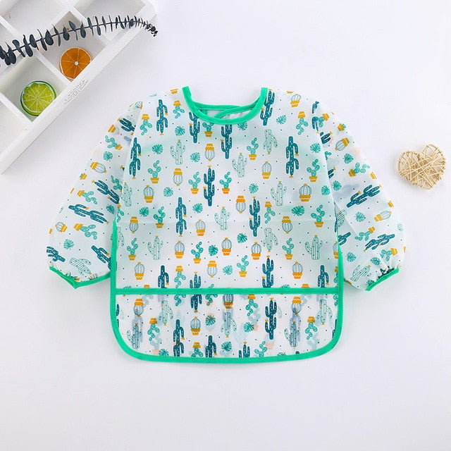 5 Styles Newest Arrival Baby Kids Toddler Long Sleeve Waterproof Art Smock Feeding Bib Apron Pocket
