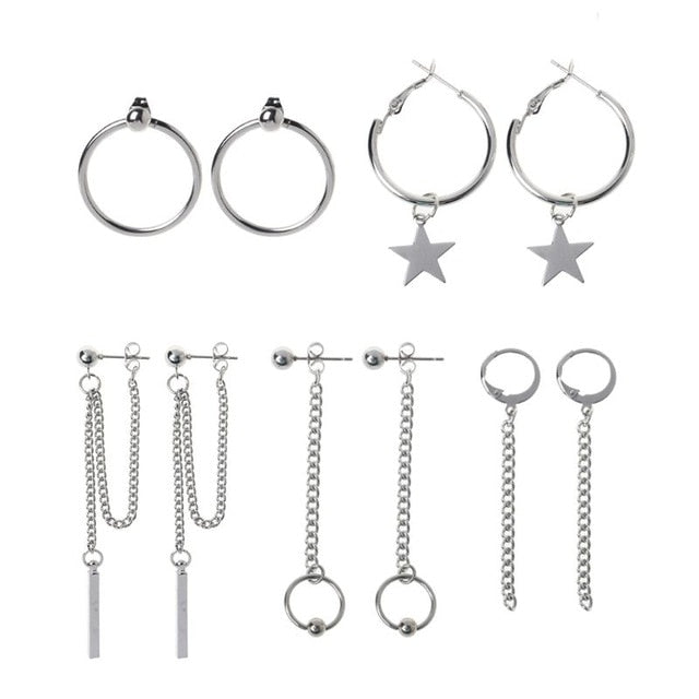 Korea Jewelry KPOP Bangtan Boy Punk Titanium Steel Tassel Chain Kit