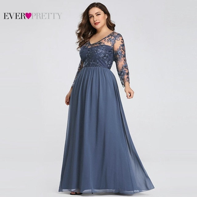 Plus Size Mother Of The Bride Dress Ever Pretty Elegant A-line Lace Appliques Long Party Gowns