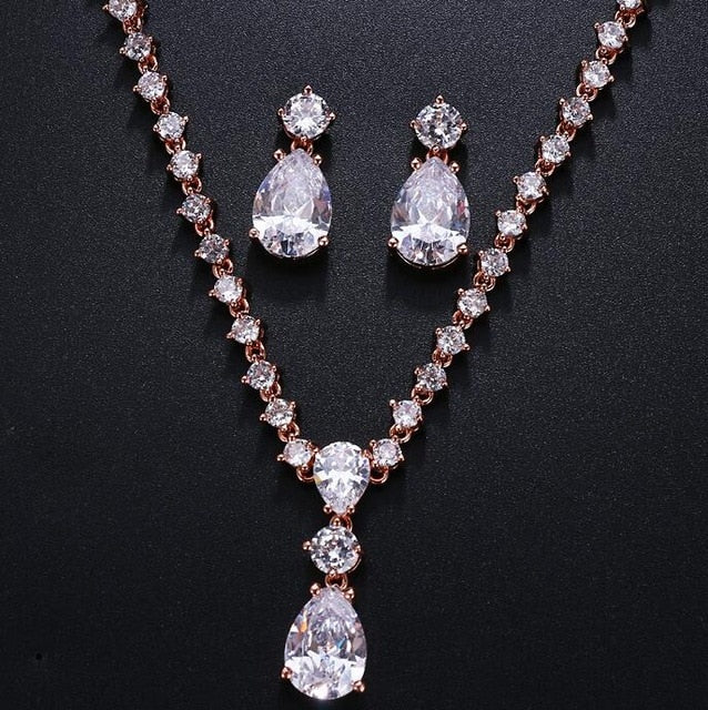 Fashion Simple Cubic Zirconia Crystal Women Earrings Necklace Set For Brides Wedding Costume Jewelry Set