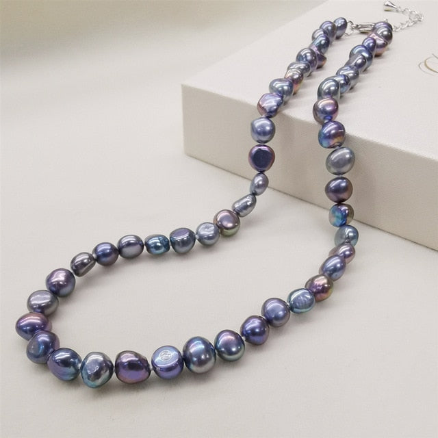 Natural Freshwater Pearl Necklace Classic Style Black White Pink Purple Pearl Necklace For Women