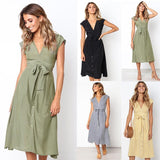 Summer Spring Sexy V-neck Button Striped Dress Women Casual Knee-Length Sleeveless Lace Up Bow A-Line Dress Vestido