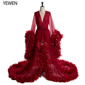 Custom Burgundy Formal Evening Dresses Long Women V Neck Full Sleeves Ruched Organza Evening Dresses New Dress Party