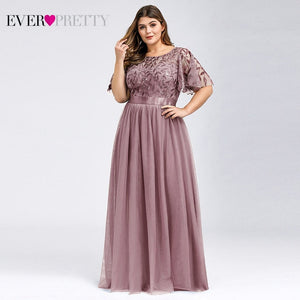 Plus Size Sequined Evening Dresses Long Ever Pretty A-Line O-Neck Tulle Elegant Formal Evening Gowns
