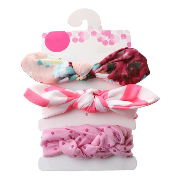 3Pcs Baby Headband Summer Cute Floral Bows Baby Girl Headbands Elastic Bowknot Newborn Hair Band Turban Set Hair Accessories
