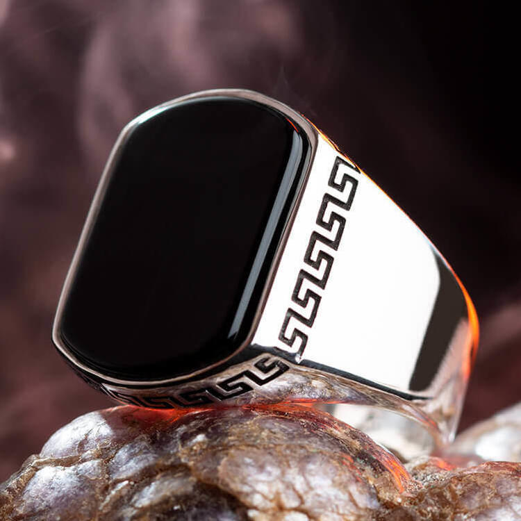 925 Sterling Silver Ring For Men Plain Model Black healthy Onyx Stone Vintage Fashion Turkish Premium Quality Handmade Jewelry