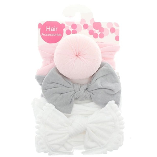 3pcs/Set New Solid Nylon baby headband Bow Headbands For Cute Kids Girls Hair Girls Turban Hairband Children Soft Cotton
