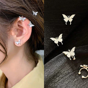 Kpop Mini Minimalist Butterfly Fairy Shiny Exquisite Aesthetic Ear Bone Clip No Piercings Earrings For Women Egirl BFF Jewelry