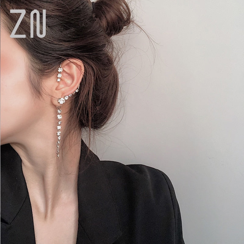 1pc Big Ear Cuff Earrings Women New Statement Shinning Crystal Hanging Earrings Handmade Party Jewelry Gifts