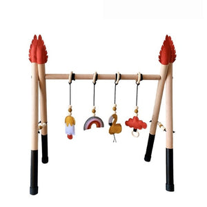 1Set Nordic Style Baby Gym Play Nursery Sensory Ring-pull Toy Wooden Frame Infant Room Toddler Clothes Rack Gift Kids Room Decor