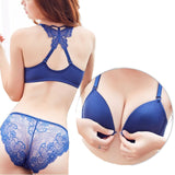 Front Closed Push Up Brassiere Panties Sexy Underwire Bra Set For Women Underwear Solid Color Female Lingerie Briefs