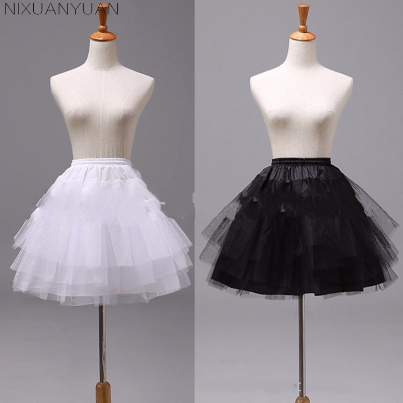 White or Black Short Petticoats Women A Line 3 Layers Underskirt For Wedding Dress jupon