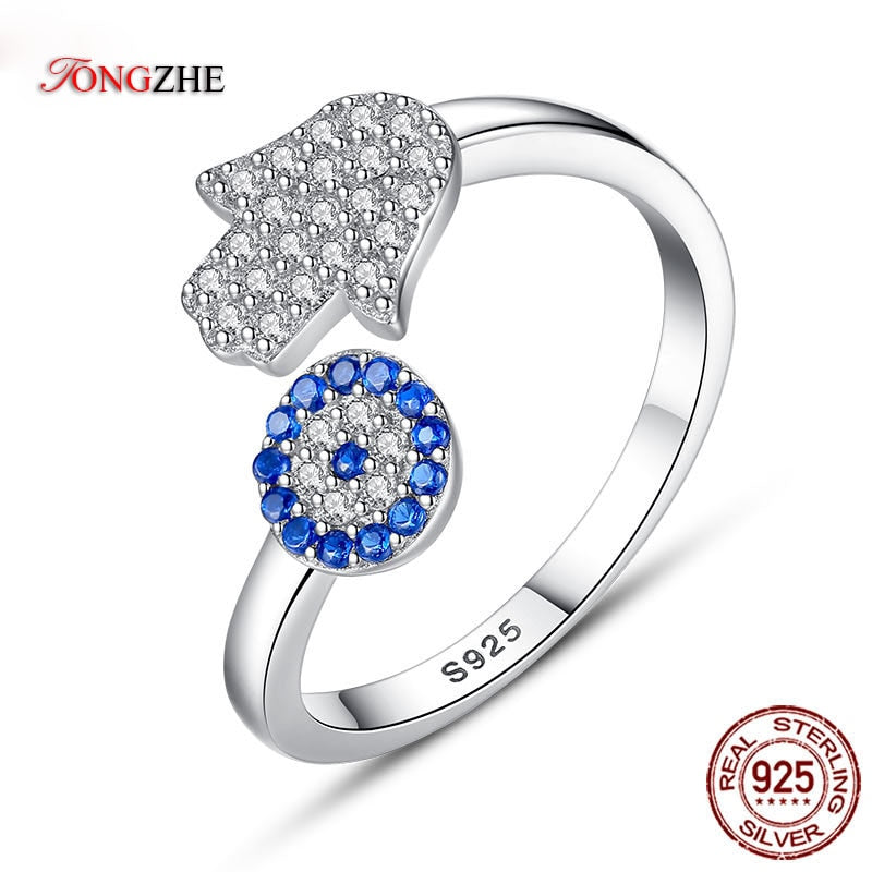 925 Sterling Silver Evil Eye Ring Blue Eye Hamas Hand Fatima Adjustable Female Rings Open Ring Women Wedding Jewelry