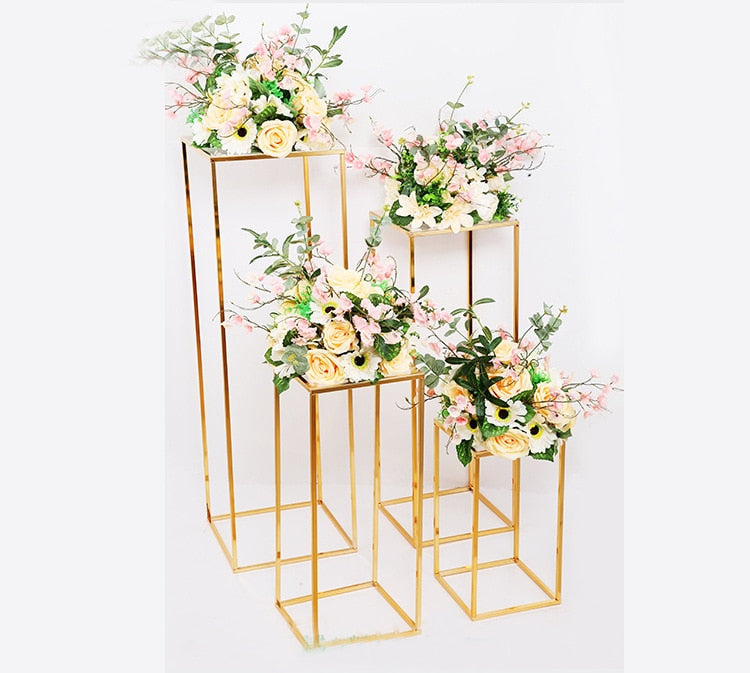 Gold wedding decoration 4pcs/set Iron geometric placed props road lead T station supplies rectangle wedding plinth
