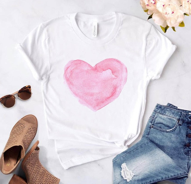 Heart flower print ladies T-shirt ladies casual basis O-collar white shirt short sleeve ladies T-shirt love graphic printing